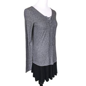Rue 21 Ribbed Long Sleeve Top lace up neckline
